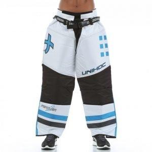 Unihoc Goalie Pants Feather Maalivahdin Housut Valkoinen / Sininen